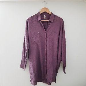 New Free People Purple Oversized Shirt - XS